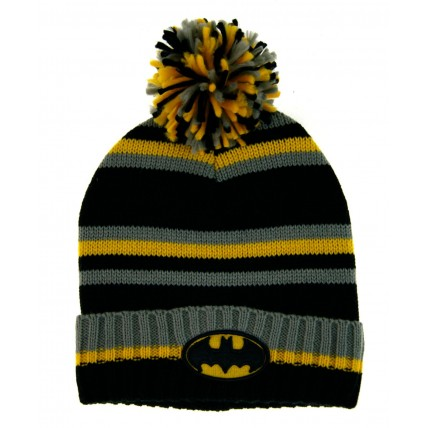 Mens Batman Knitted Bobble Hat Kids DC Super Hero Winter Warm Wool Cap Gift Size