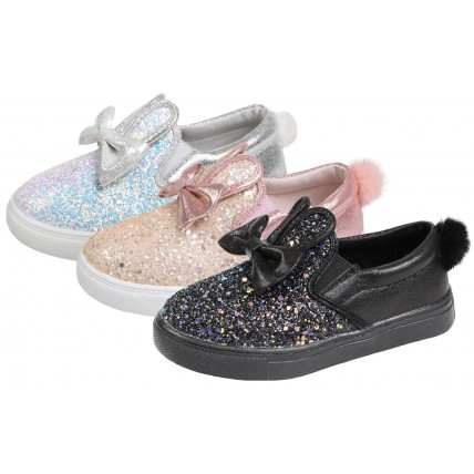 Girls Glitter Bunny Pumps - 3D Ears