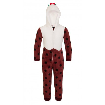 Kids Fleece All In One - Christmas Pudding