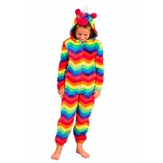 Girls 3D Multi Colour Unicorn All In One Kids Dress Up Costume Fleece Jumpsuit