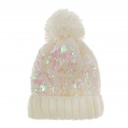 Girls Iridescent Sequin Woolly Bobble Hat Kids Winter Warm Glitter Cap Gift Size