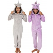 Girls 3D Glitter Unicorn All In One Teens Dress Up Costume Fleece Xmas Jumpsuit