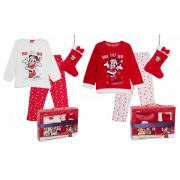 Disney Minnie Mouse Girls Fleece Pyjamas + Stocking Christmas Boxed Gift Set Pjs