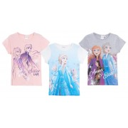 Girls Disney Frozen 2 Short Sleeved T-Shirt Kids Elsa Anna Top Tee Age Size