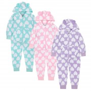 Kids Fleece All In One - Heart Print