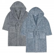 Boys Two Tone Sherpa Fleece Hooded Dressing Gown Kids Snuggle Bathrobe Gift Size