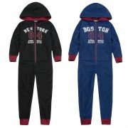 Boys Girls Varsity Hooded Fleece All In One Kids Unisex Zipped Jumpsuit Gift