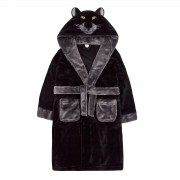 Boys Novelty 3D Black Panther Hooded Fleece Dressing Gown Kids Dress Up Bathrobe