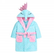 Girls Novelty 3D Seahorse Hooded Fleece Dressing Gown Kids Plush Bathrobe Gift