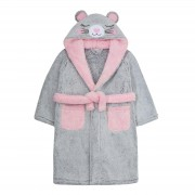 Girls Novelty 3D Mouse Hooded Fleece Dressing Gown Kids Plush Bathrobe Gift Size
