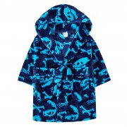 Boys Dinosaur Bones Robe Hooded Fleece Dressing Gown Kids Novelty Bathrobe Gift