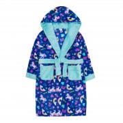 Girls Unicorn Hooded Fleece Dressing Gown Kids Rainbow Plush Bathrobe Gift Size