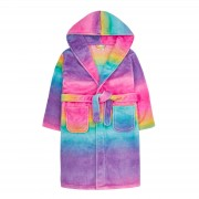 Girls Gradient Rainbow Hooded Fleece Dressing Gown Kids Plush Bathrobe Gift Size