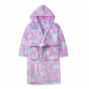 Girls Glitter Ombre Hooded Fleece Dressing Gown Kids Plush Bathrobe Gift Size
