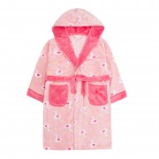 Girls Swan Print Hooded Fleece Dressing Gown Kids Soft Plush Bathrobe Gift Size