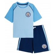 Kids Manchester City Short Pyjamas Boys Premiership Football Kit Shorts T-shirt