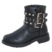 Girls Studded Buckle Mid Calf Boots