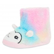 Girls Rainbow Llama Slippers Boots Kids Ombre Slipper Booties House Shoes Size