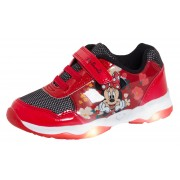 Disney Minnie Mouse Girls Light Up Trainers Kids Easy Touch Fasten Sports Shoes