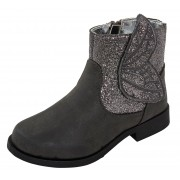 Girls 3D Glitter Wings Grey Low Block Heel Ankle Boots Kids Sparkle Party Shoes
