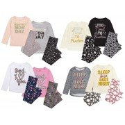 Girls Novelty Slogan Full Length Pyjamas Kids Tweens 2 Piece Pjs Set Gift Size