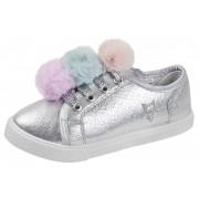 Buckle My Shoe Lace Up Metallic Pom Pom Trainers