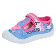 Girls Peppa Pig Mary Jane Canvas Pumps Kids Easy Fasten Sports Trainers Plimsoll
