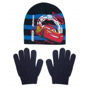 Boys Disney Cars Stretch Beanie Hat + Gloves Winter Set Lightning McQueen Gift