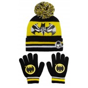 Boys Batman Bobble Hat + Gloves Winter Set Kids DC Comics Warm Xmas Gift Size