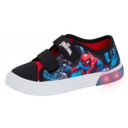 Boys Spiderman Light Up Canvas Trainers Kids Marvel Touch Fasten Casual Pumps