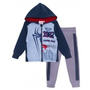 Boys Spiderman Fleece Tracksuit Kids Marvel Avengers Zip Hoodie And Jogger Set