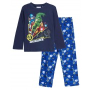 Boys Marvel Avengers Glow In The Dark Full Length Pyjamas Kids Super Hero Pjs