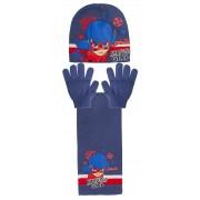 Girls Miraculous Ladybug 3 Piece Winter Set Kids Woolly Hat + Glove + Scarf Set