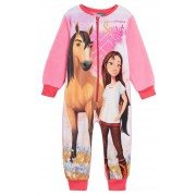 Spirit Riding Free Girls Fleece All In One Pyjamas Kids Horse Sleepsuit Size
