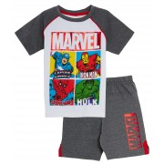 Boys Marvel Avengers Two Piece Lounge Set Kids Hero T-Shirt + Shorts Day Wear