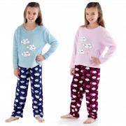 Girls Fleece Pyjamas Set - Clouds
