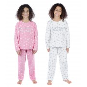 Girls Fleece Pyjamas Set - Slogan