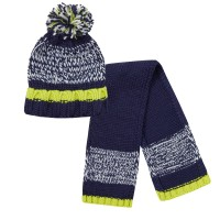 Boys Chunky Knit Woolly Hat + Scarf Winter Set Kids Thick Fleece Xmas Gift Size