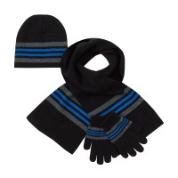Boys Striped Woolly Hat + Scarf + Gloves Winter Warm Set Kids Xmas Gift Size