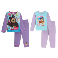Girls Masha And Bear Long Pyjamas Kids Character Full Length Pjs Set Gift Size