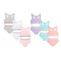 Girls Crop Top + Briefs Two Piece Set Teens Elasticated Cotton Underwear Size