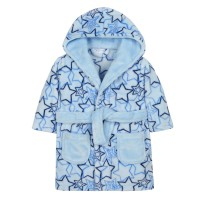 Baby Fleece Dressing Gown - Blue Stars