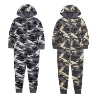 Boys Camouflage Hooded Fleece All In One Kids Novelty Zipped Jumpsuit Gift Size