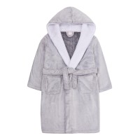 Girls Grey Plush Hooded Fleece Dressing Gown Kids Soft Bathrobe Housecoat Gift