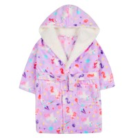 Girls Novelty Unicorn Robe Kids Hooded Fleece Dressing Gown Bathrobe Gift Size