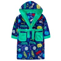 Boys Gaming Slogan Robe Gamer Hooded Fleece Dressing Gown Bathrobe Housecoat