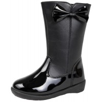 Girls Knee High Boots - Patent Bow