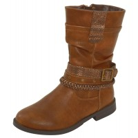 Girls Tan Knee High Fleece Lined Boots