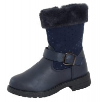 Girls Fur Trim Mid Calf Boots