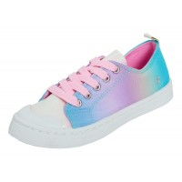 Girls Rainbow Gradient Ombre Canvas Pumps Kids Iridescent Casual Trainers Size